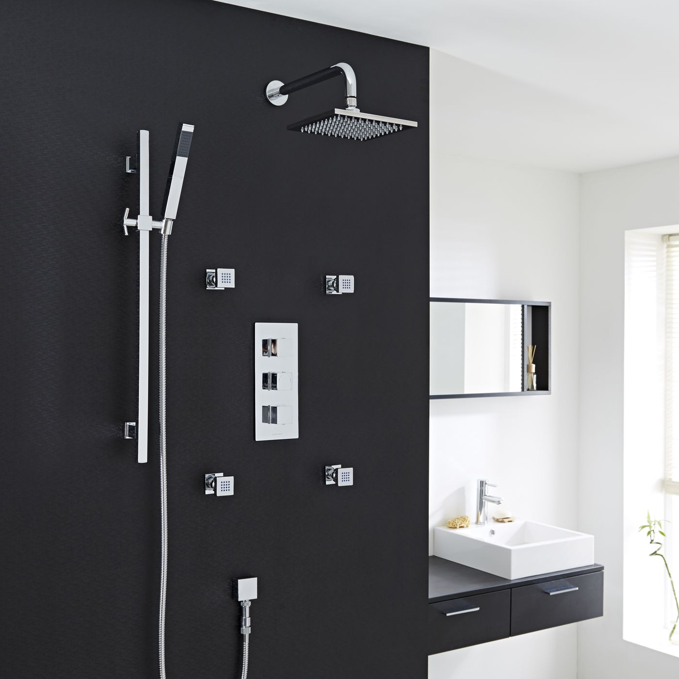 Thermostatic Shower System with Slide Rail Kit & Body Jets