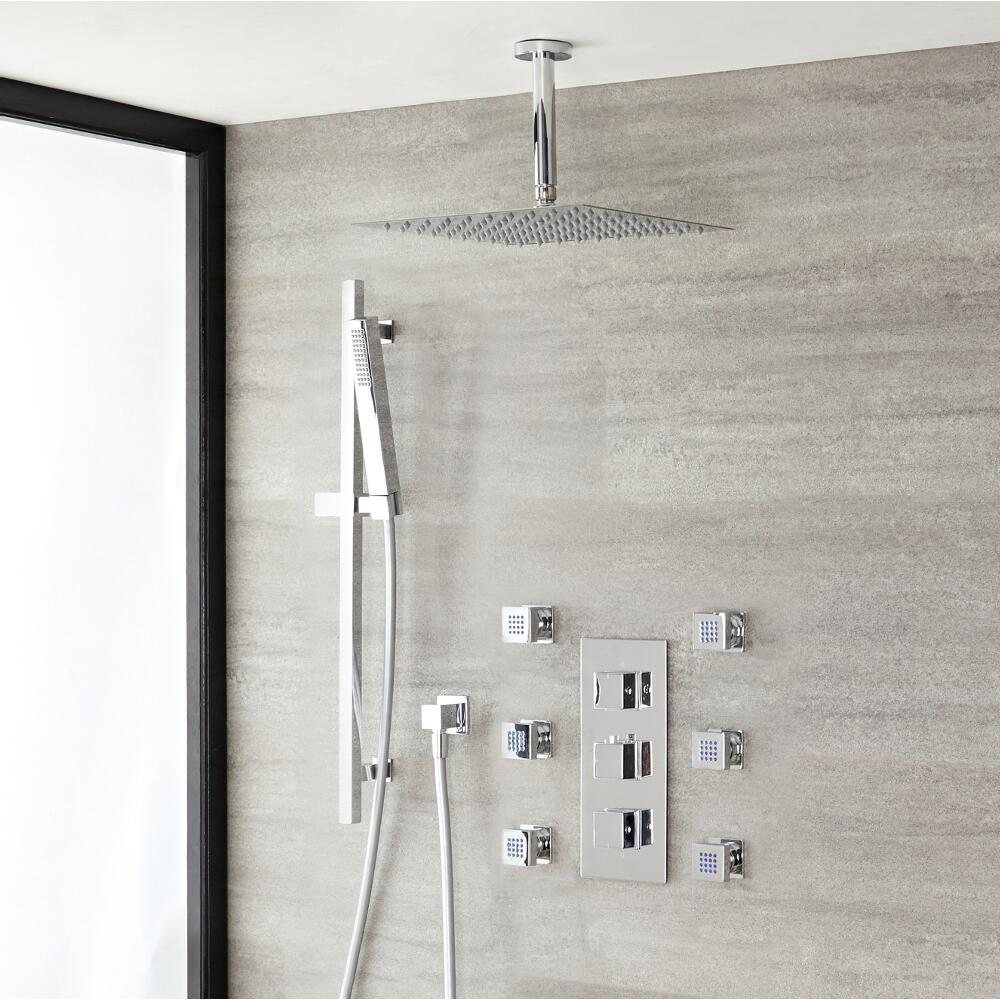 "Kubix Thermostatic Chrome Shower System with Ceiling Mount 12"" Shower Head, Slide Rail Kit and 4 Body Sprays"