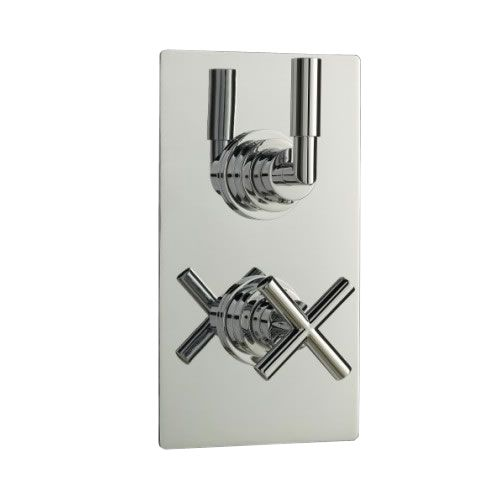 Helix Concealed Thermostatic Twin Shower Faucet Valve with Diverter 2 Outlet Options