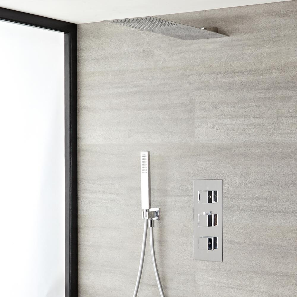Kubix Thermostatic Chrome Shower System with Ultra Slim Shower Head and Hand Shower