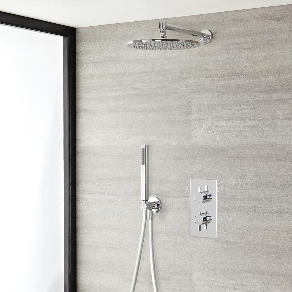 "Quest Thermostatic Chrome Shower System with Wall Mount 12"" Shower Head and Hand Shower"