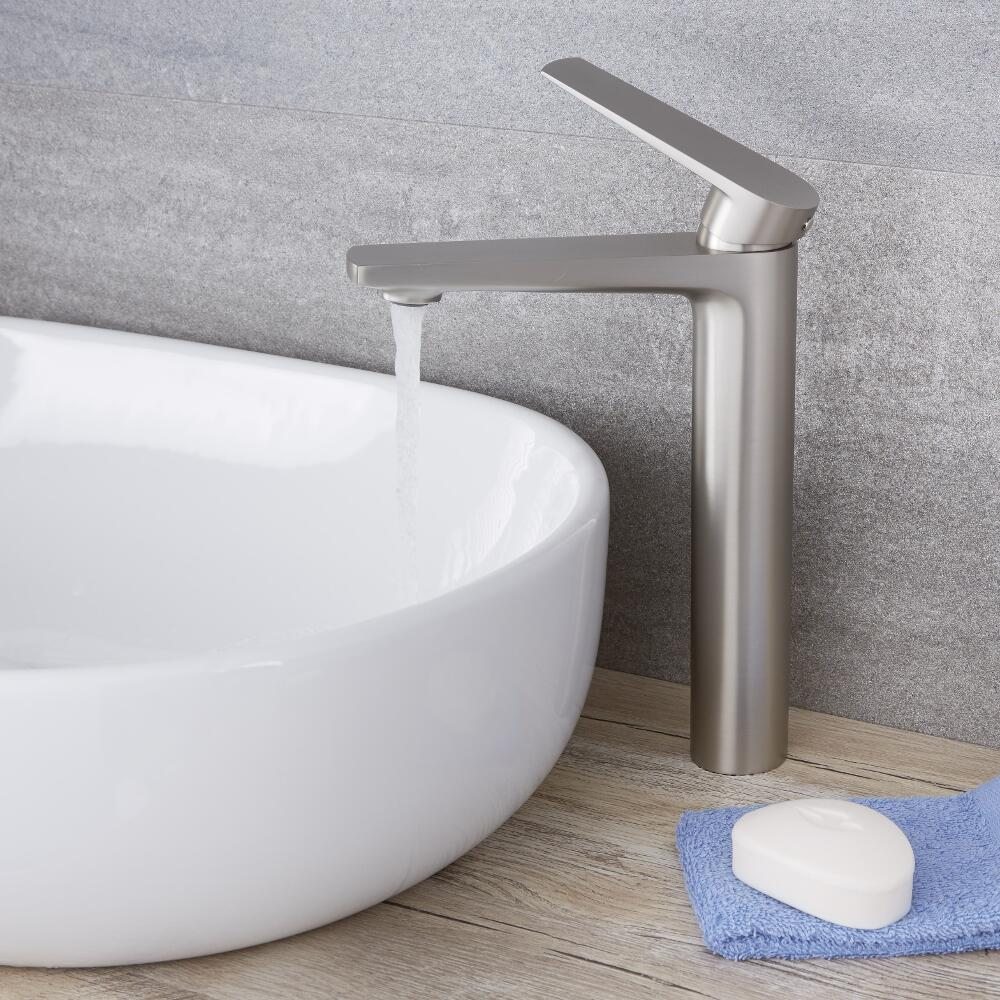 Arcadia - Brushed Nickel Modern Single-Hole Vessel Faucet