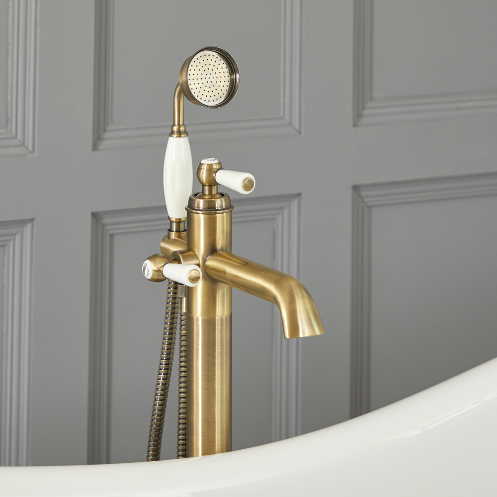 Elizabeth - Traditional Freestanding Lever Handle Tub Faucet with Hand Shower - Brushed Gold