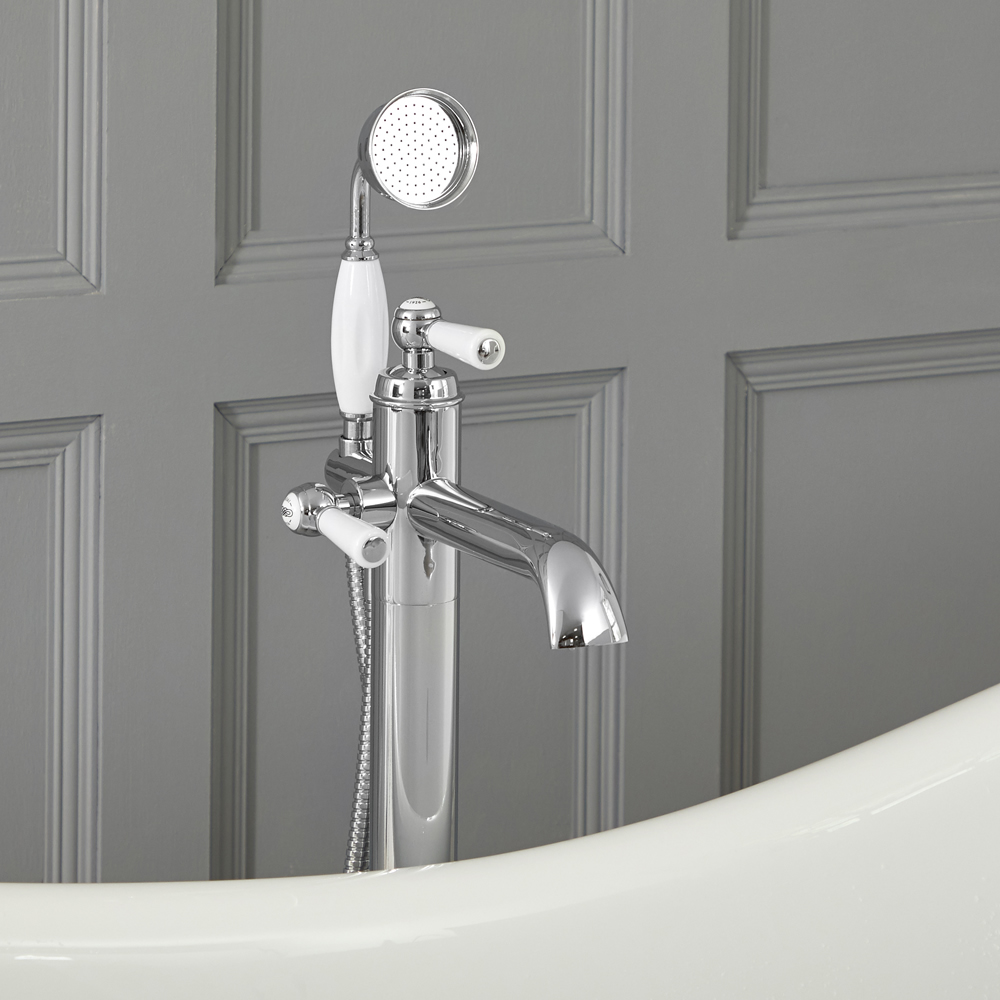 Elizabeth - Traditional Freestanding Tub Faucet with Hand Shower - Chrome/White