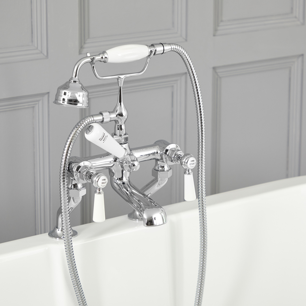 Elizabeth - Traditional Deck Mounted Tub Faucet with Telephone Style Hand Shower - Chrome/White