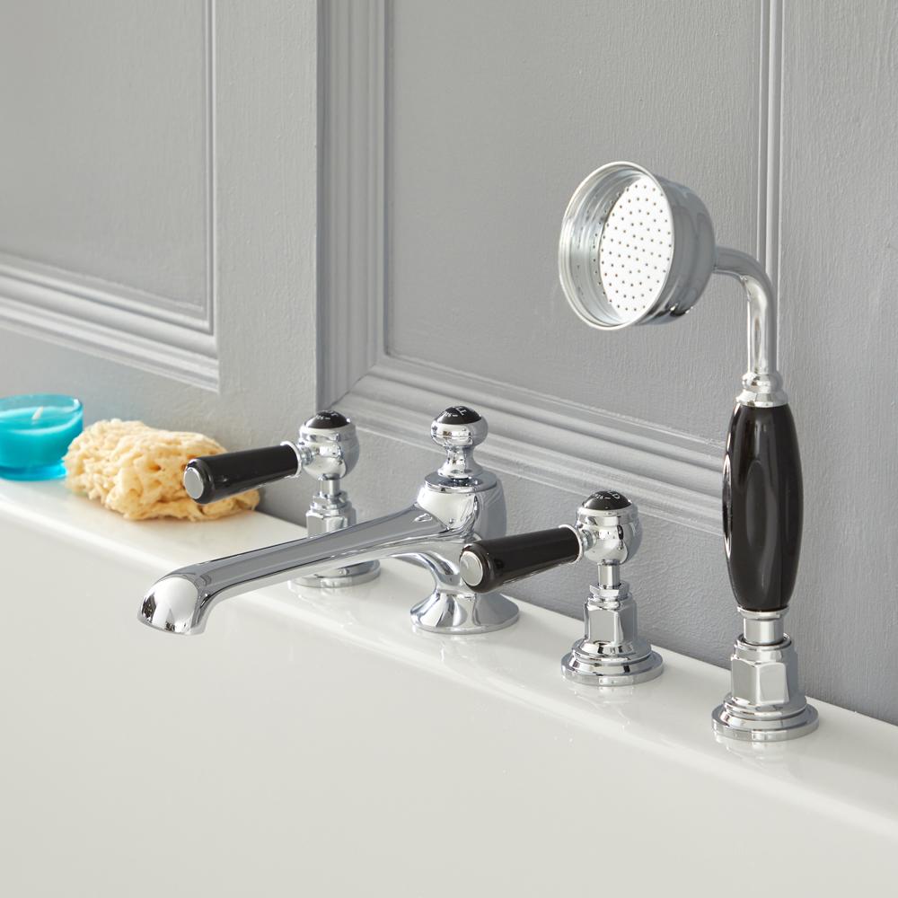 Elizabeth - Traditional Roman Tub Faucet - Chrome/Black