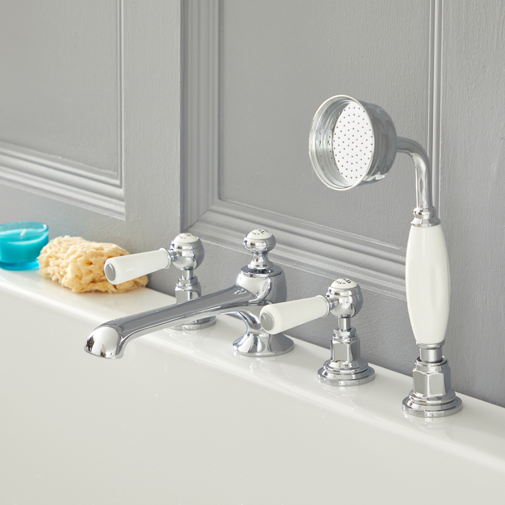 Elizabeth - Traditional Roman Tub Faucet - Chrome/White