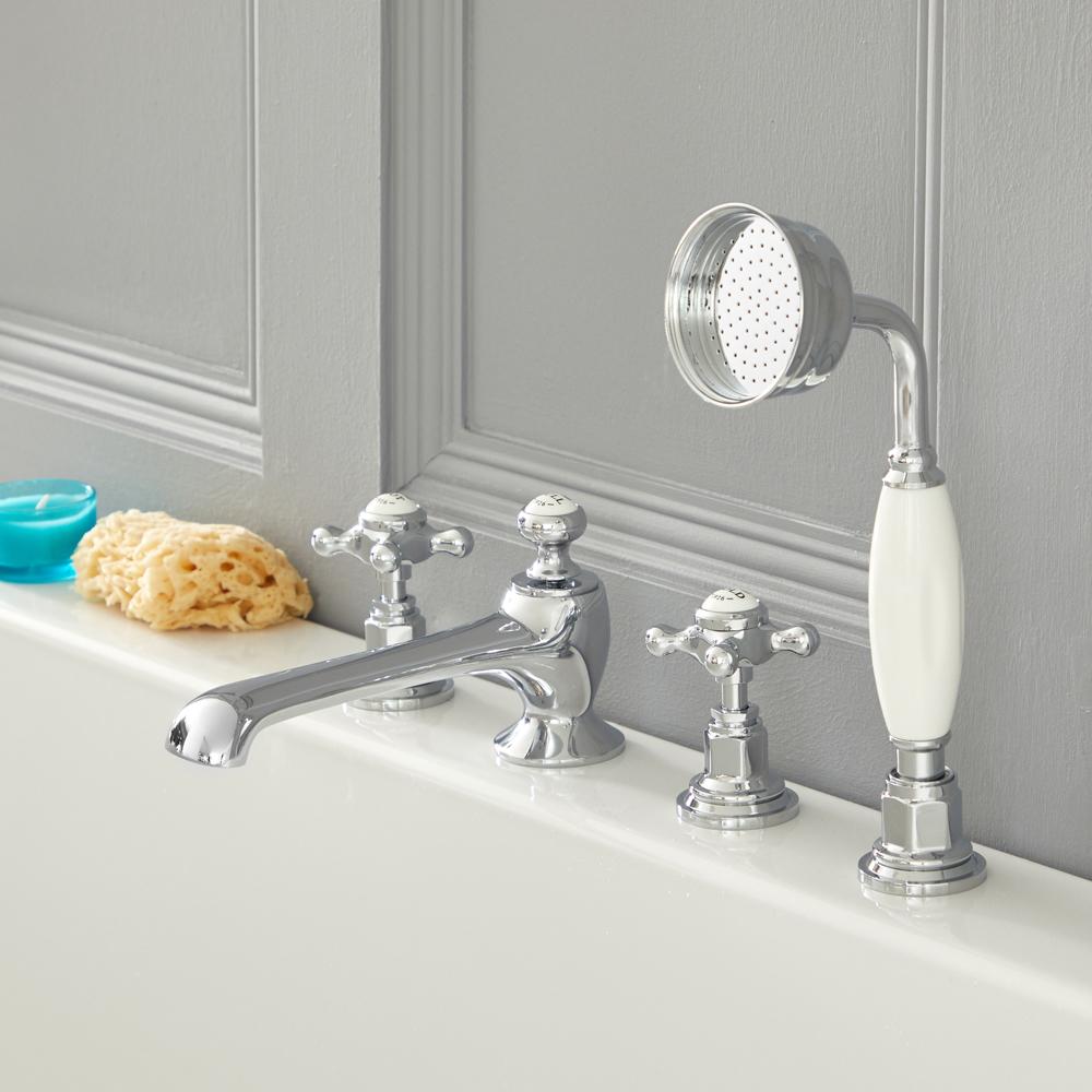 Elizabeth - Traditional Cross Handle Roman Tub Faucet - Chrome/White