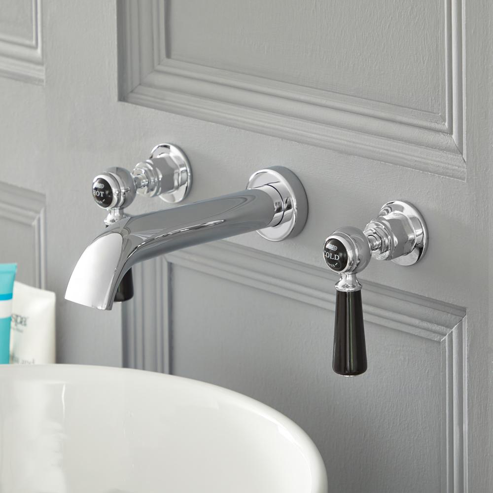 Elizabeth - Traditional Wall Mounted Widespread Bathroom Faucet - Chrome/Black