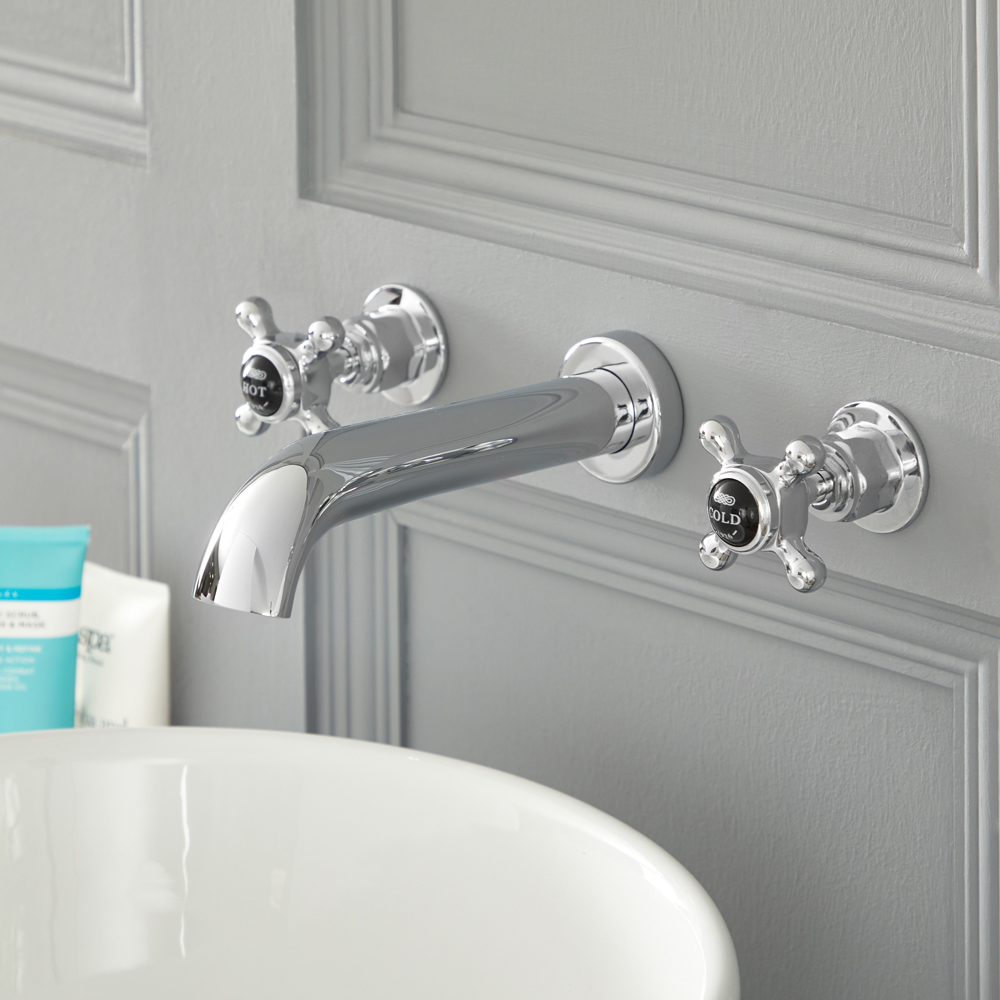 Elizabeth - Traditional Wall Mounted Cross Handle Widespread Bathroom Faucet - Chrome/Black