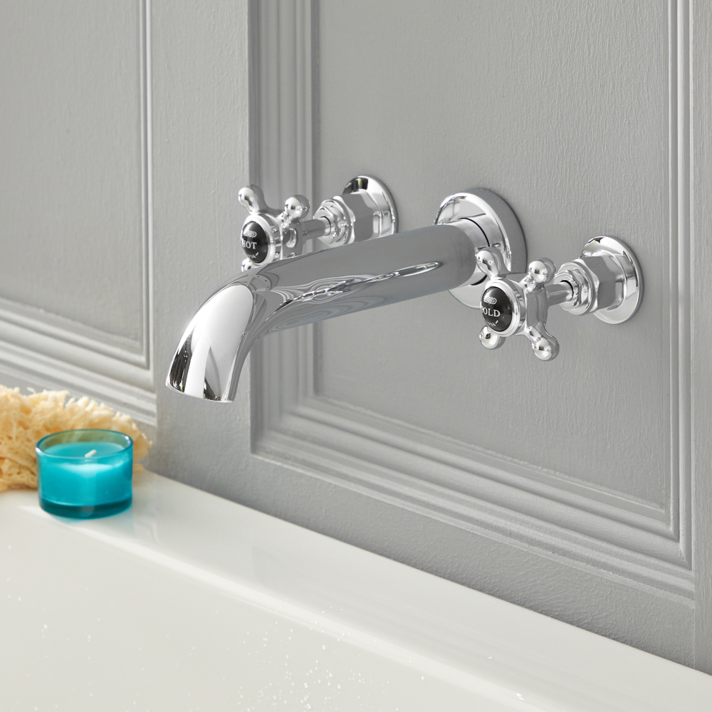 Elizabeth - Traditional Wall Mounted Cross Handle Widespread Tub Faucet - Chrome/Black