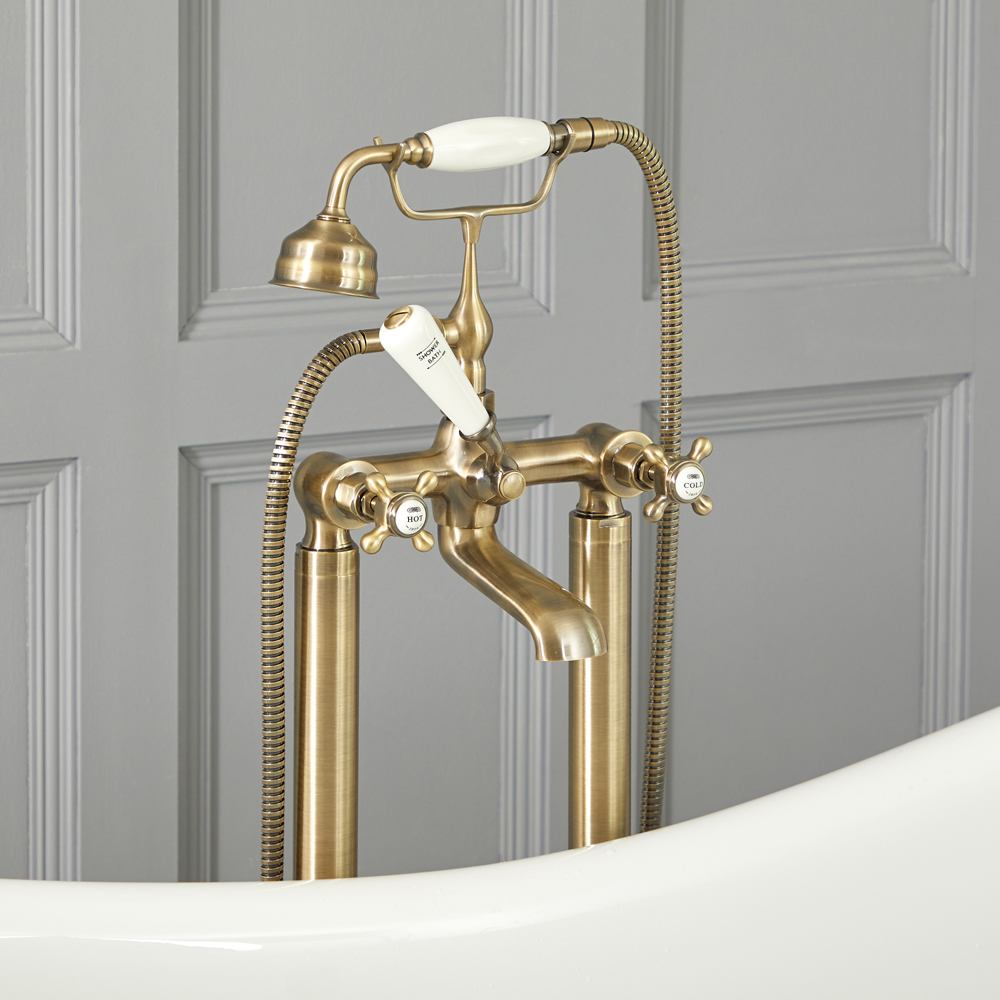 Elizabeth - Traditional Freestanding Tub Faucet with Telephone Style Hand Shower - Brushed Gold