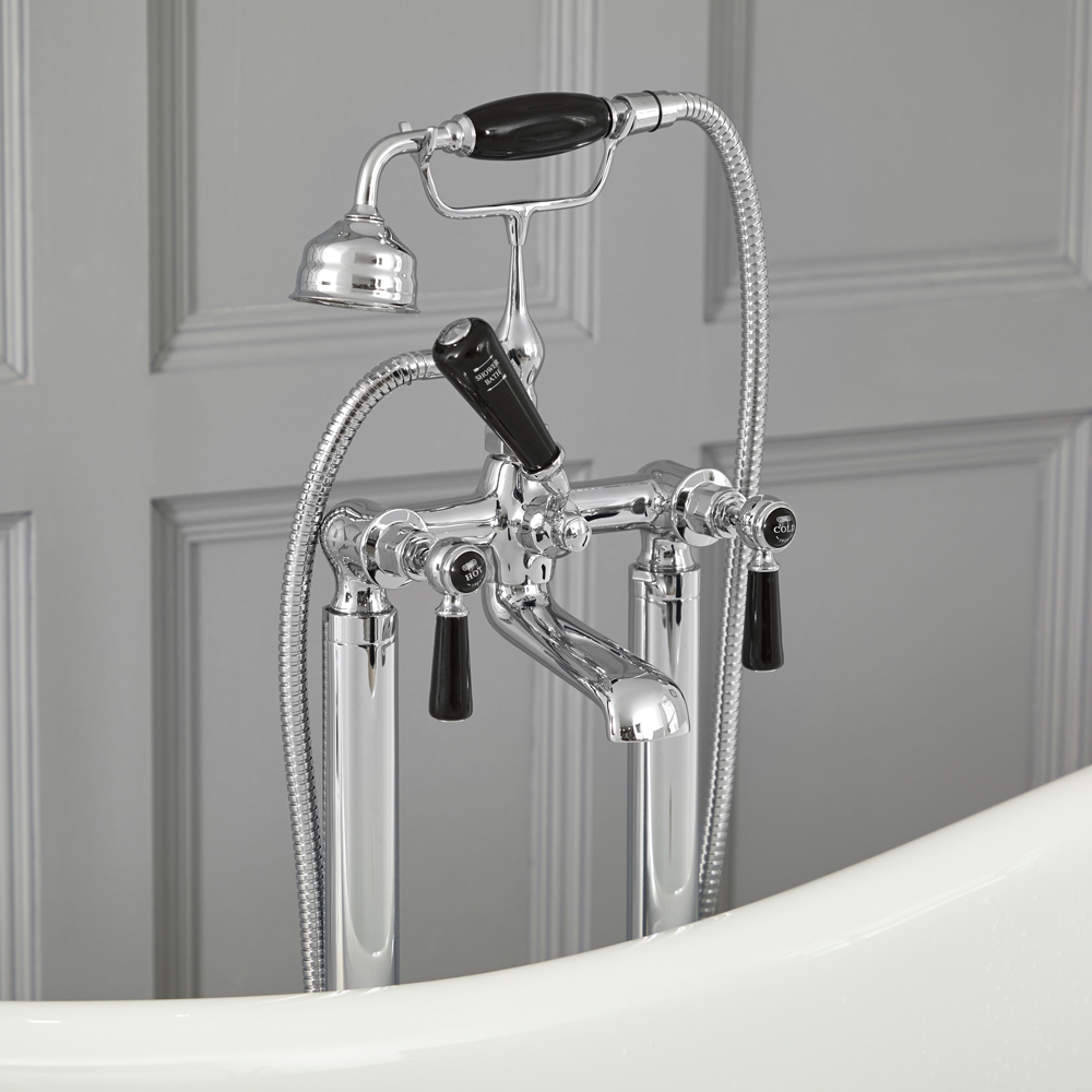 Elizabeth - Traditional Freestanding Tub Faucet with Telephone Style Hand Shower - Chrome/Black
