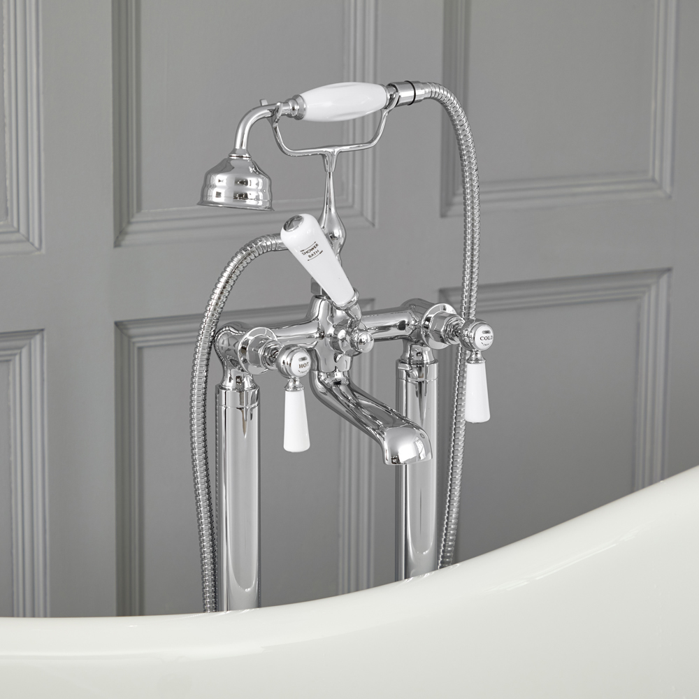 Elizabeth - Traditional Freestanding Tub Faucet with Telephone Style Hand Shower - Chrome/White