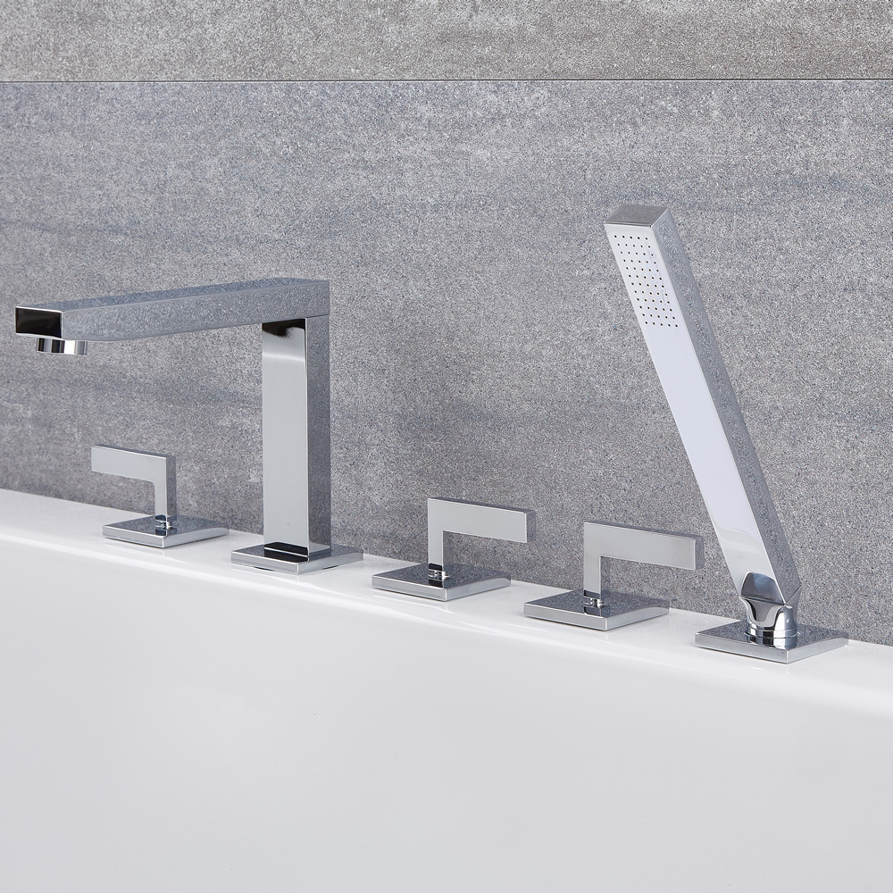 Kubix - Roman Tub Faucet with Hand Shower - Multiple Finishes Available