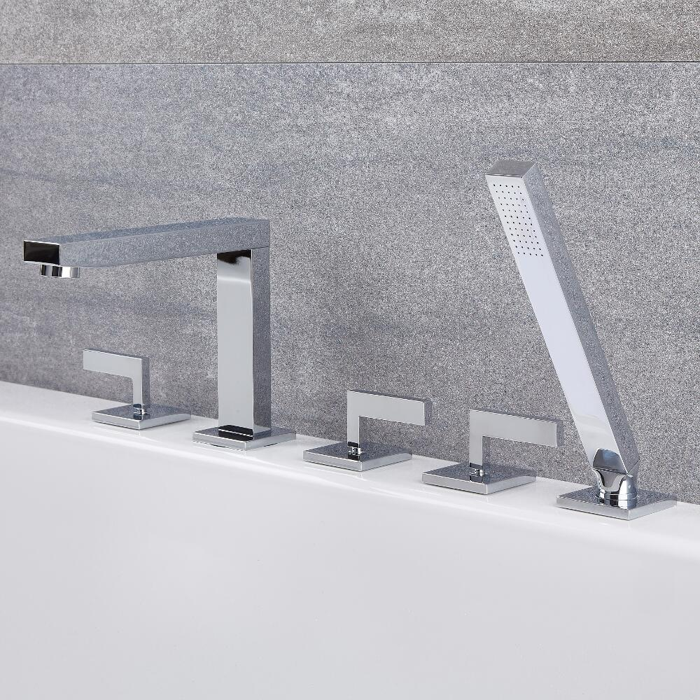 Kubix - Chrome Roman Tub Faucet with Hand Shower