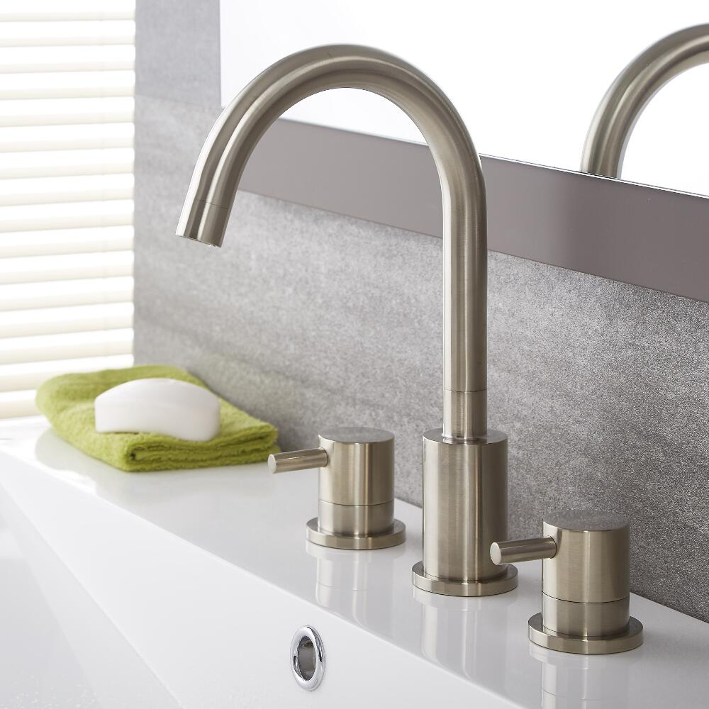 Sensational Quest Brushed Nickel Widespread Bathroom Faucet Interior Design Ideas Gresisoteloinfo