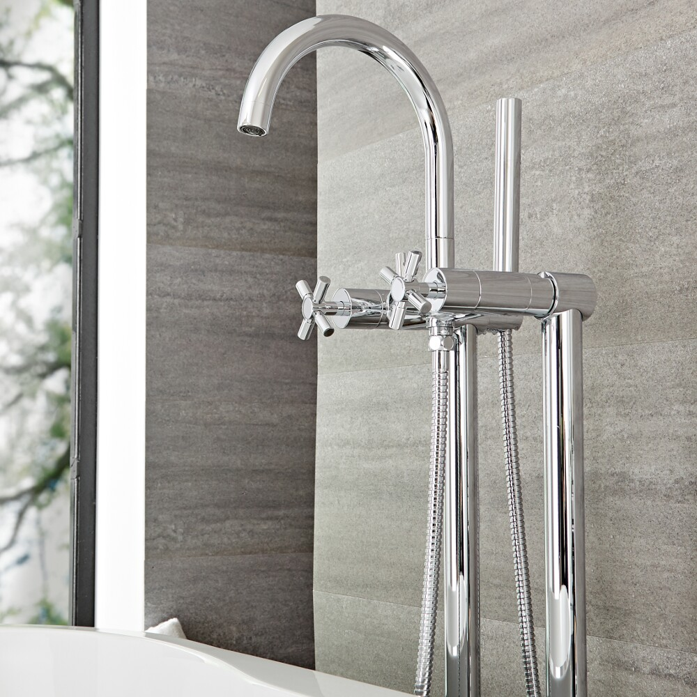 Tec - Chrome Freestanding Tub Faucet with Hand Shower