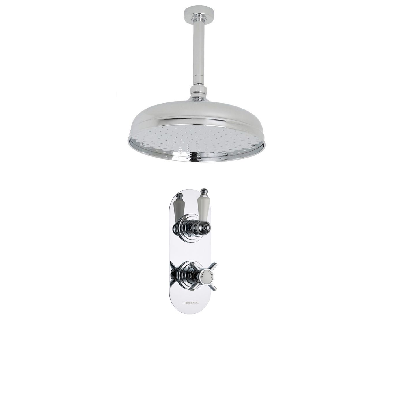 "Beaumont Thermostatic 1 Outlet Shower System with 12"" Apron Head & Ceiling Arm"