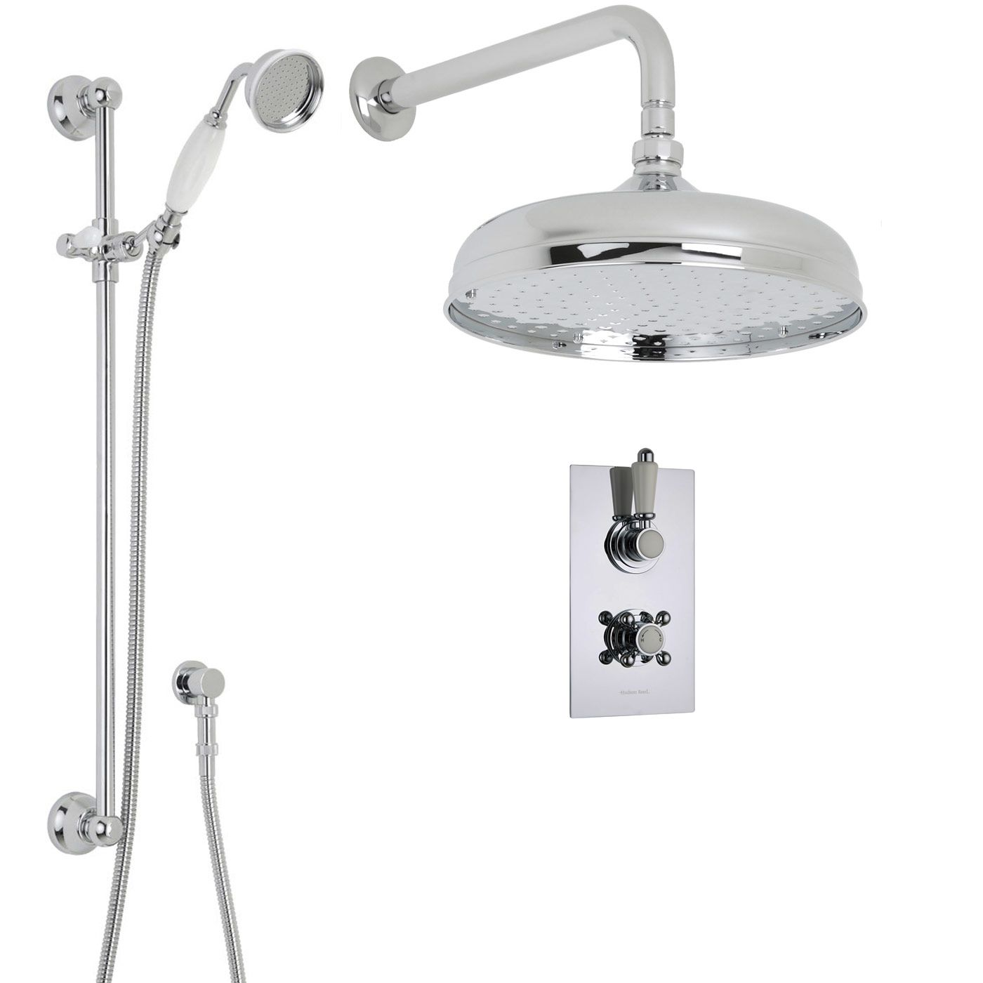 "Traditional Thermostatic 2 Outlet Shower System with 12"" Ceiling Apron Head & Handshower"