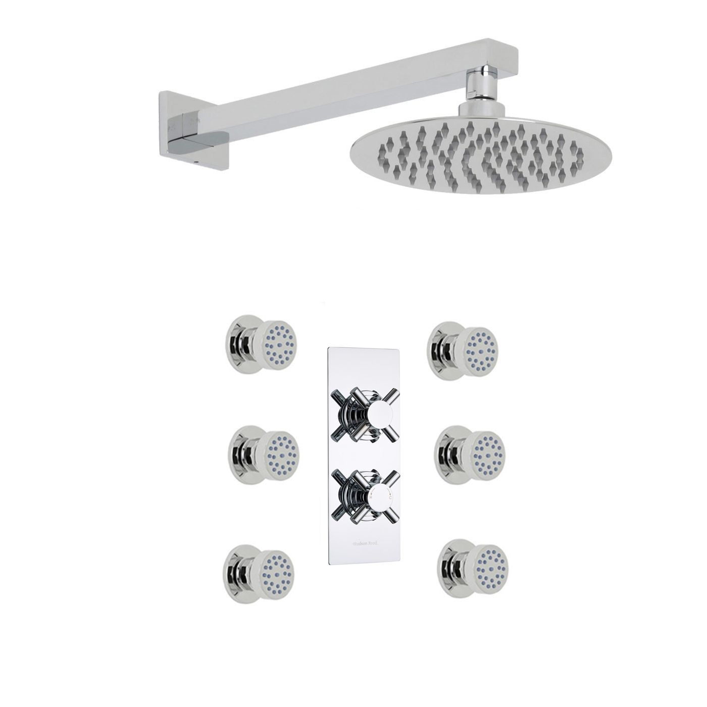 "Kristal Thermostatic 2 Outlet Shower System with 8"" Head & 6 Round Jet Sprays"