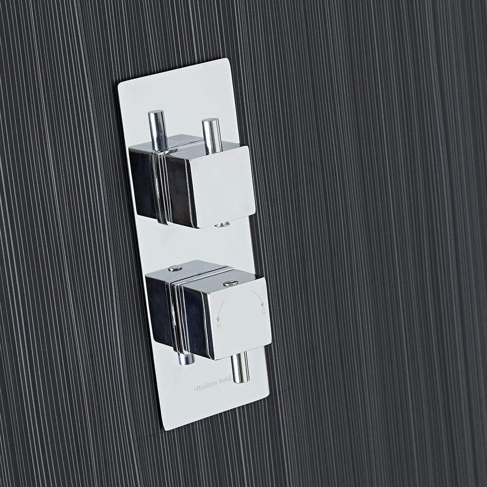 Square Concealed 1 Outlet Twin Thermostatic Shower Valve (Slim Plate)