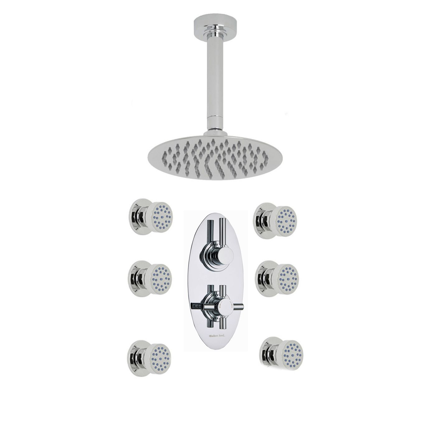 "Tec Thermostatic 2 Outlet Shower System with 8"" Round Head & Ceiling Arm & 6 Round Jet Sprays"