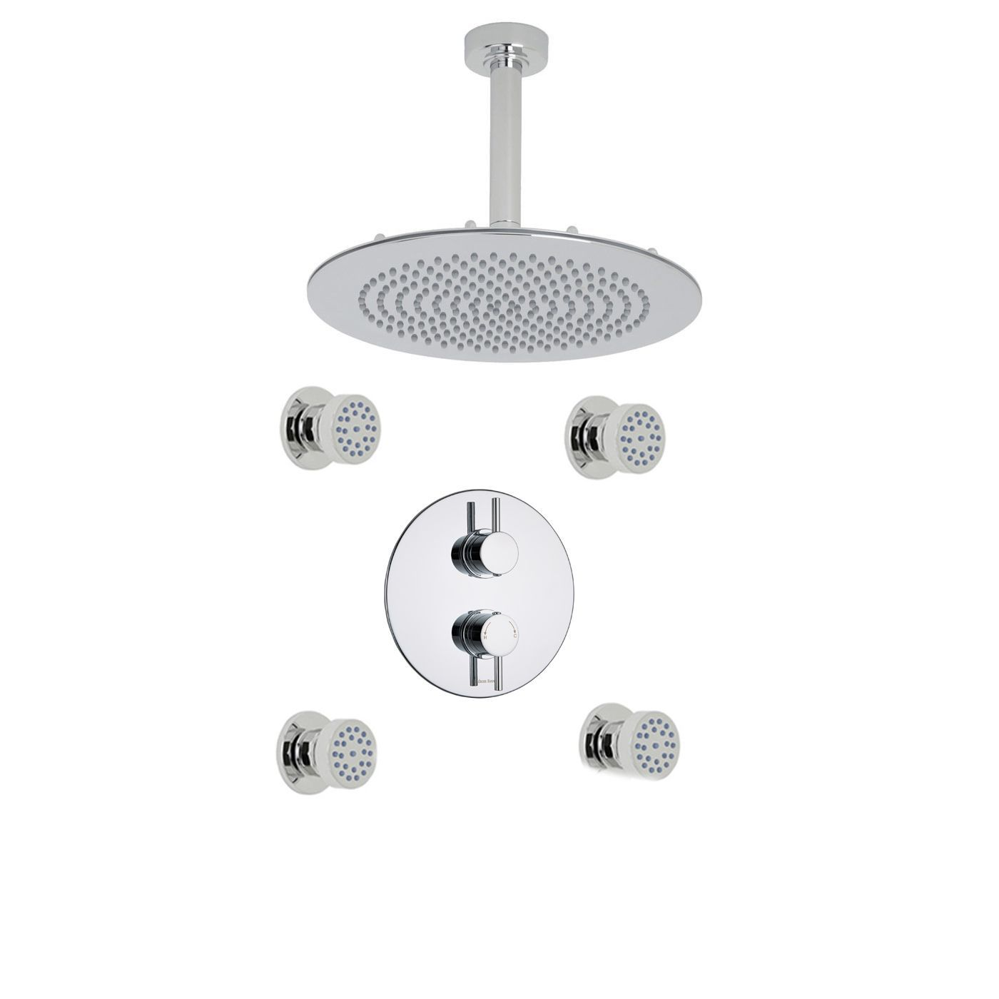 "Quest Thermostatic 2 Outlet Shower System with 4 Round Jets & 12"" Ceiling Mounted Head"