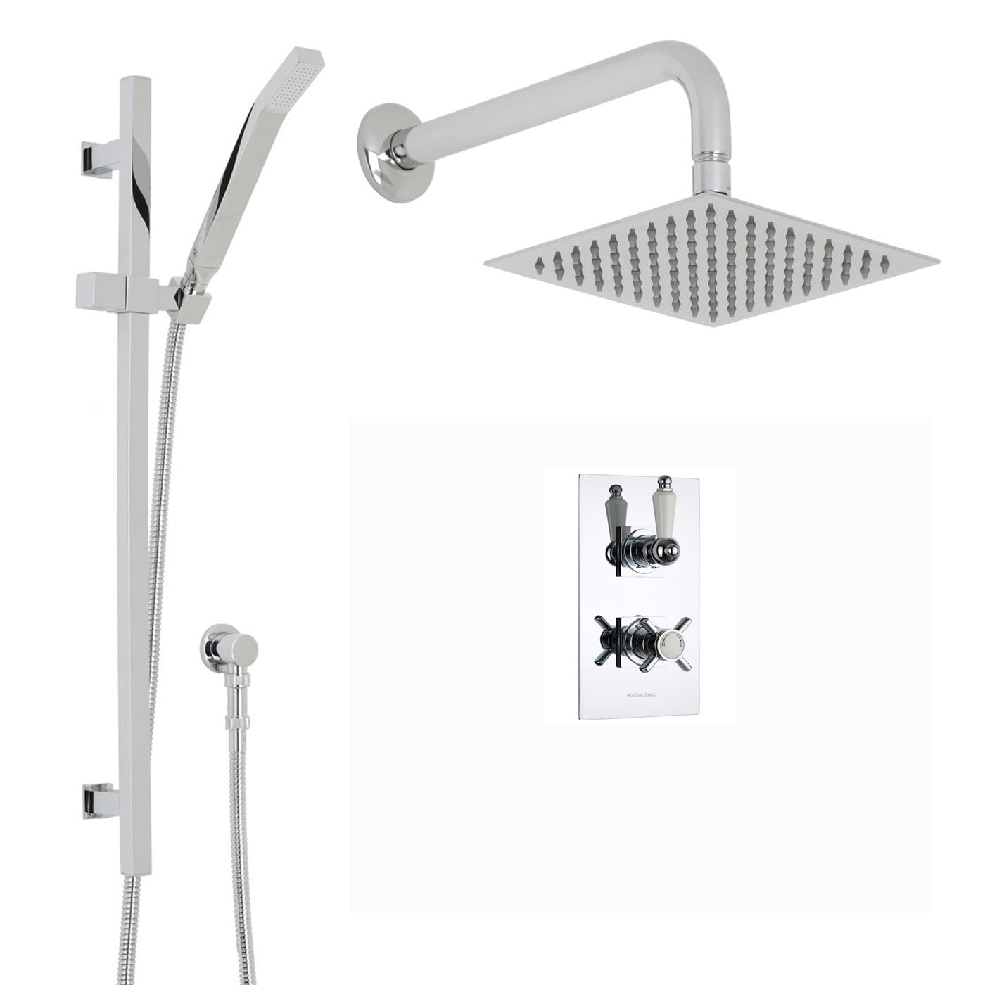 "Beaumont Thermostatic 2 Outlet Shower System with 8"" Square Head & Wall Arm & Handset"