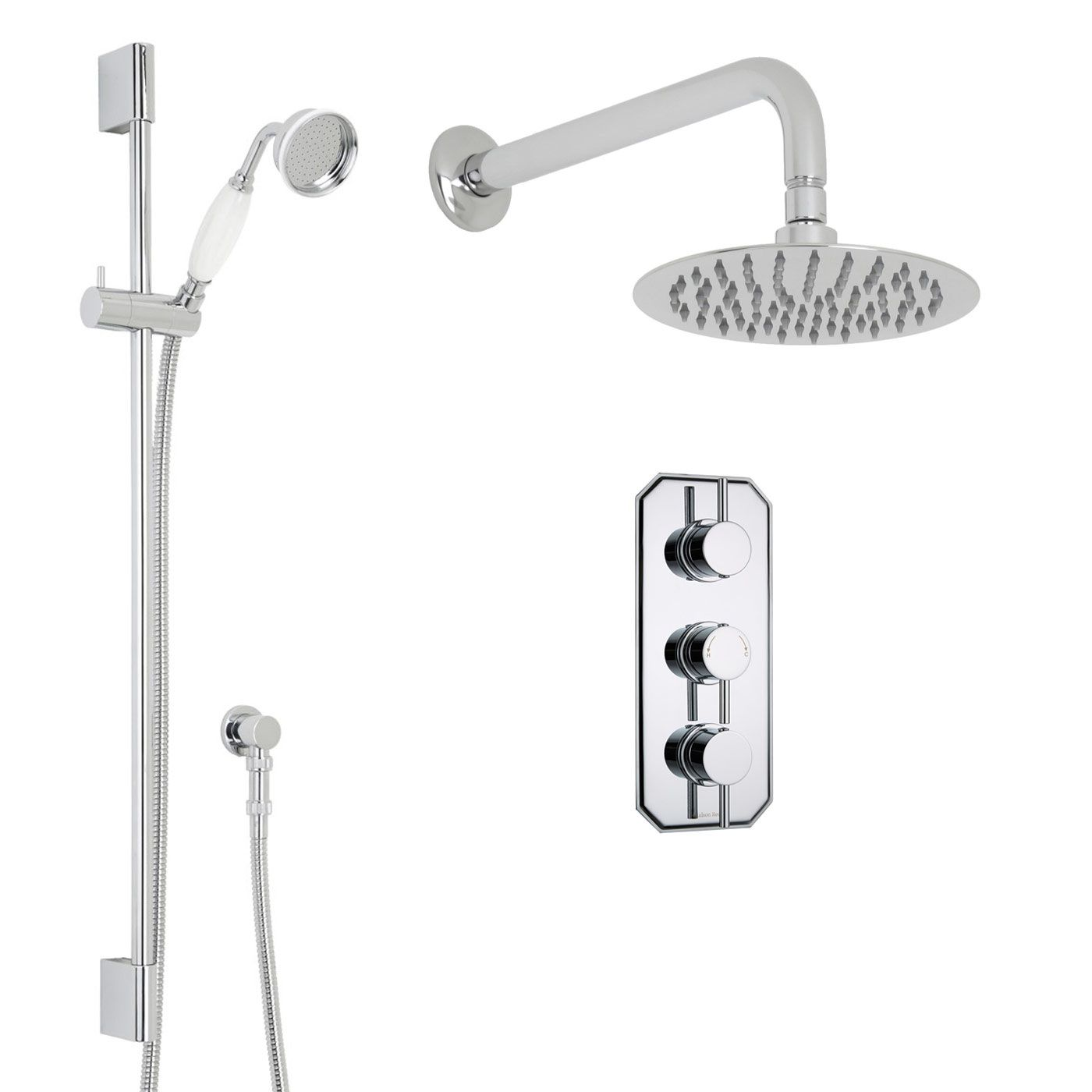 "Quest Thermostatic Shower System with 8"" Round Head & Wall Arm & Handset"