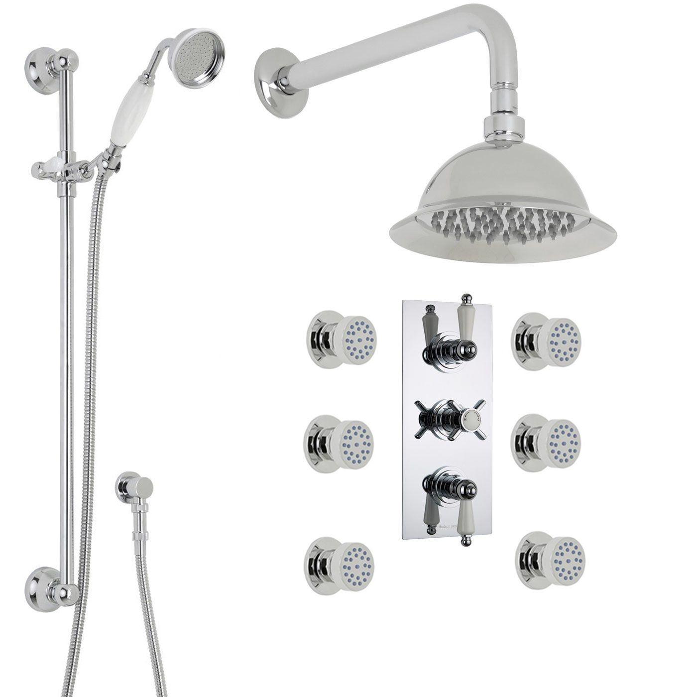 "Beaumont Thermostatic Shower System with 8"" Rose, Handshower & 6 Jet Sprays"