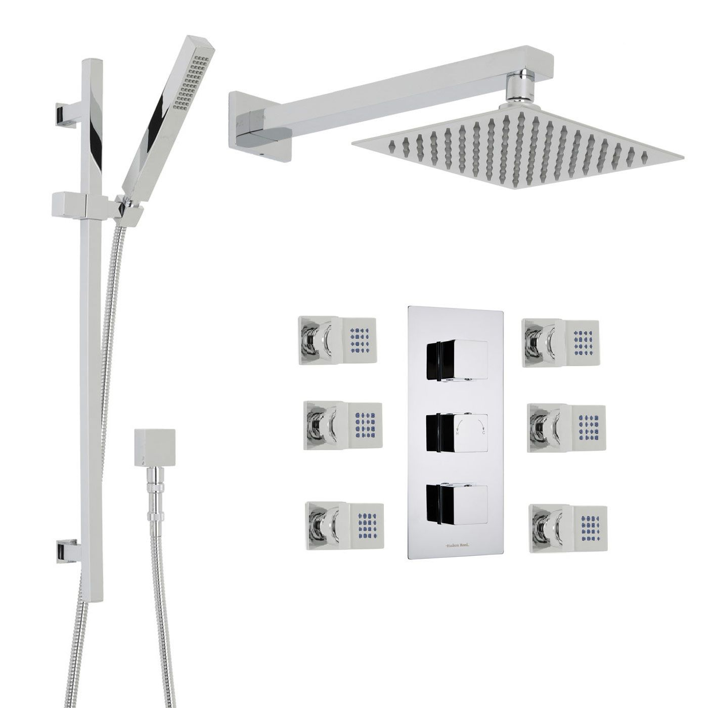 "Kubix Thermostatic Shower System with 8"" Square Head, Handshower & 6 Square Jet Sprays"