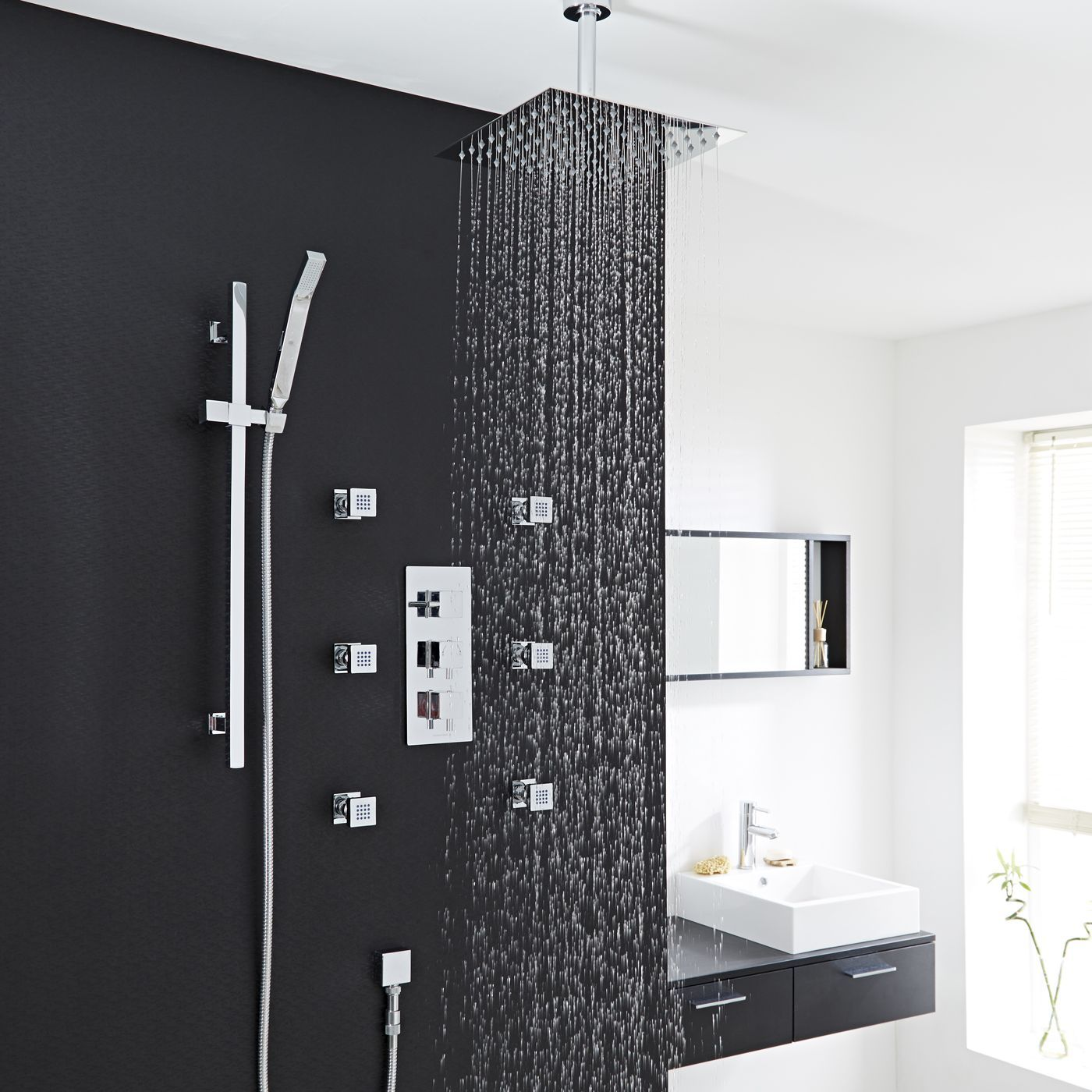 "Square Thermostatic Shower System with 12"" Ceiling Head, Handshower & 6 Square Jet Sprays"