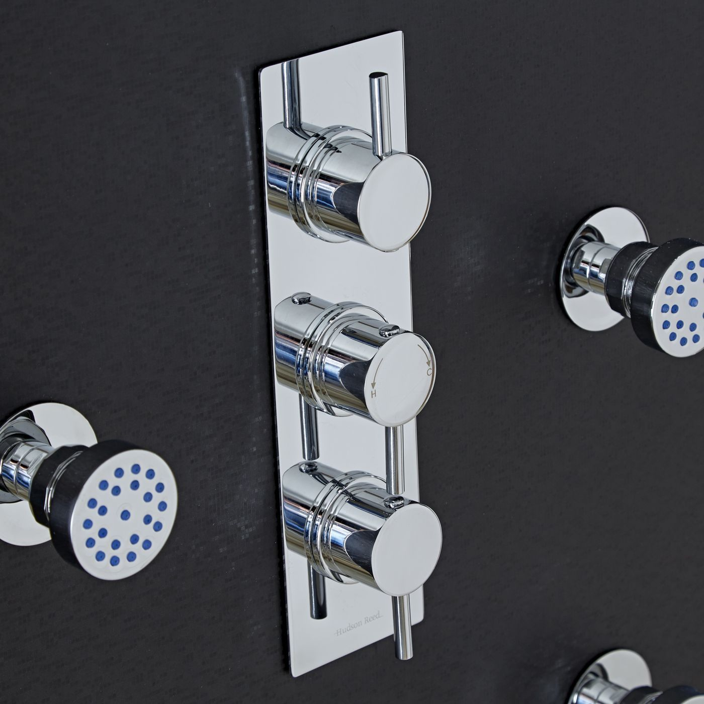 Quest Concealed 3 Outlet Triple with Diverter Thermostatic Shower Valve (Slim Plate)