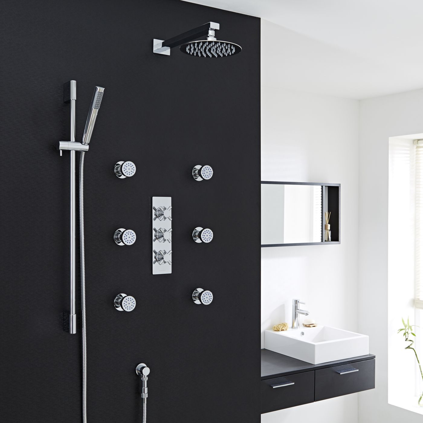 "Kristal Thermostatic Shower System with 8"" Head, Handshower & 6 Round Jet Sprays"