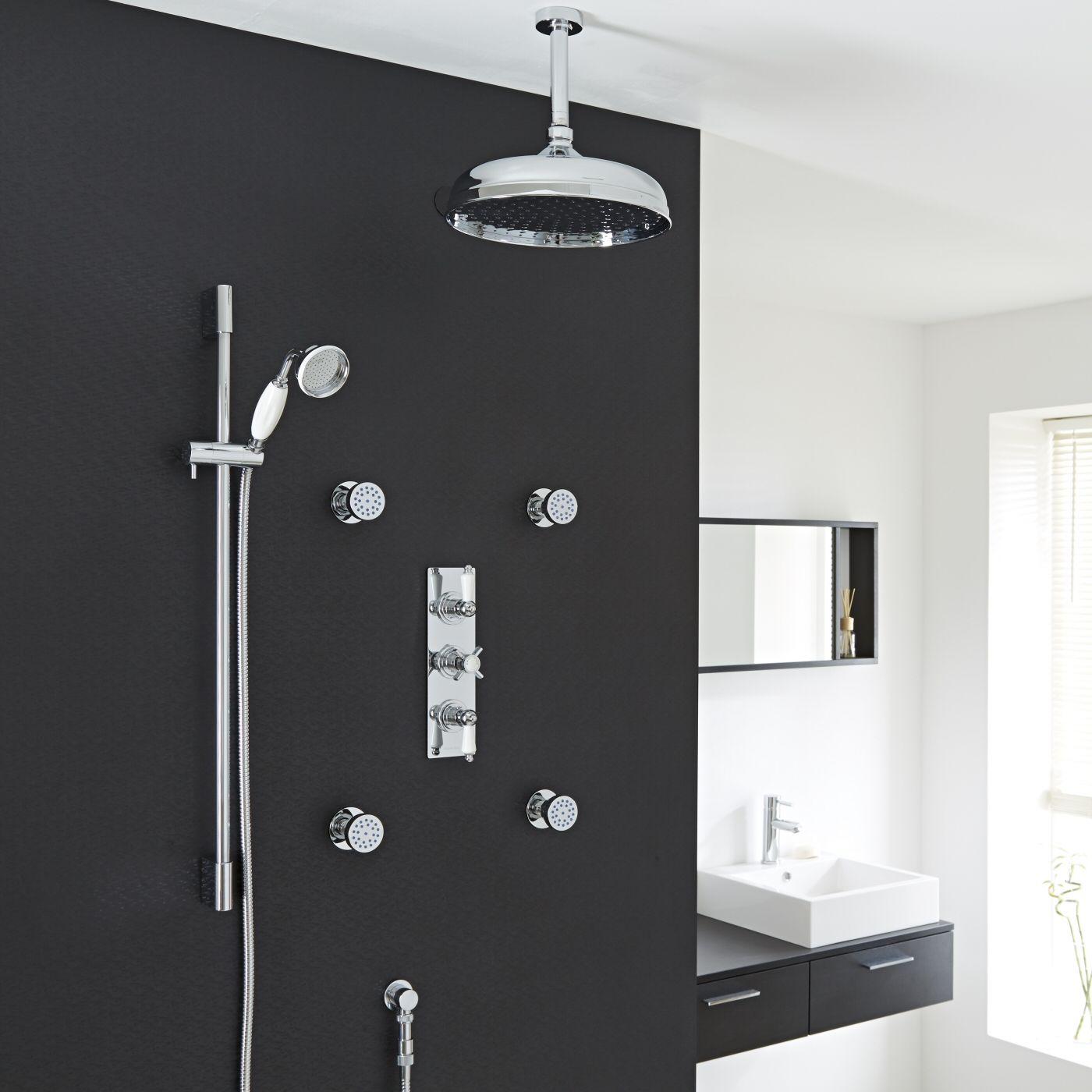 "Valquest Thermostatic Shower System with 12"" Ceiling Head, Handshower & 4 Round Jet Sprays"