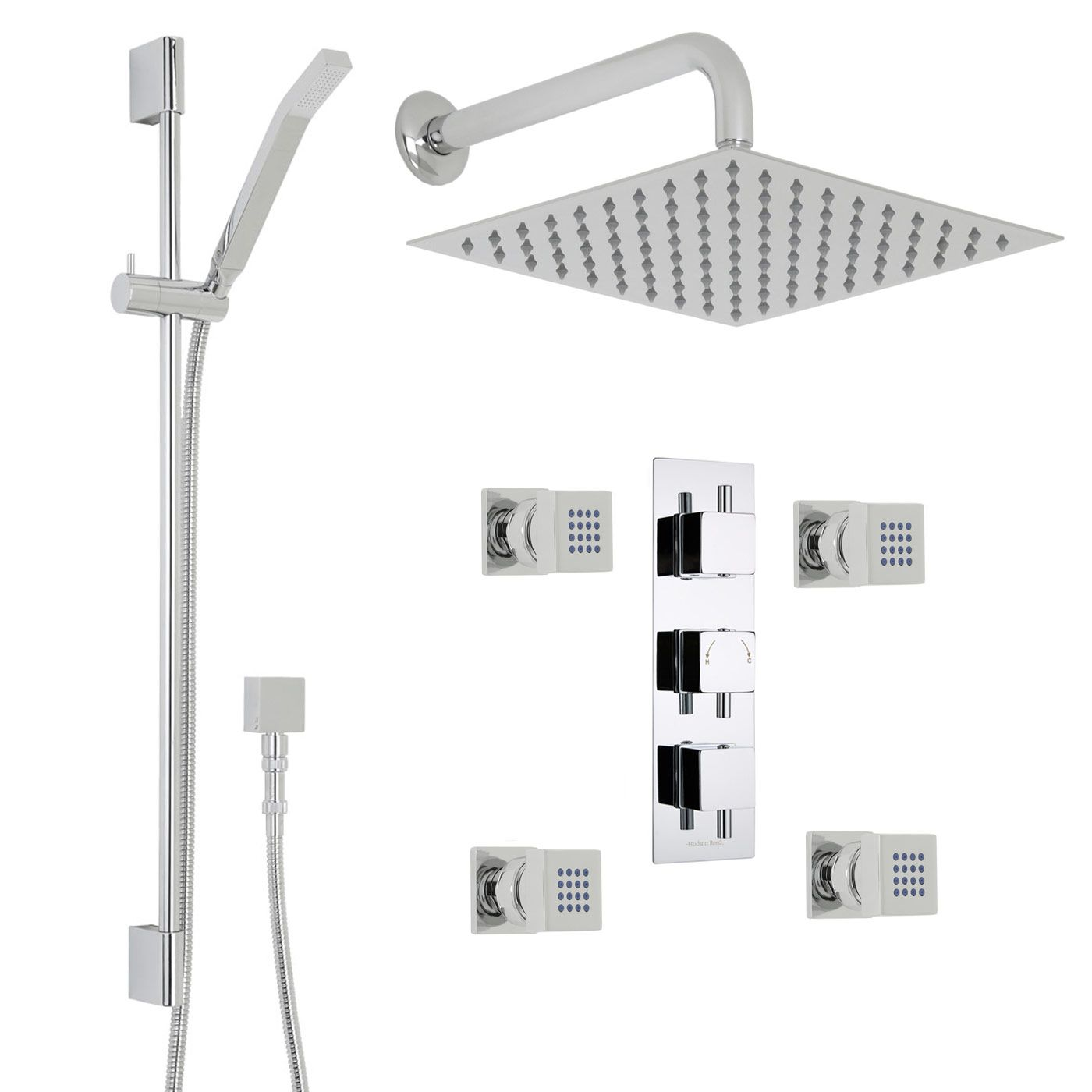 "Square Thermostatic Shower System with 12"" Head with Wall Arm, Handshower & 4 Square Jet Sprays"