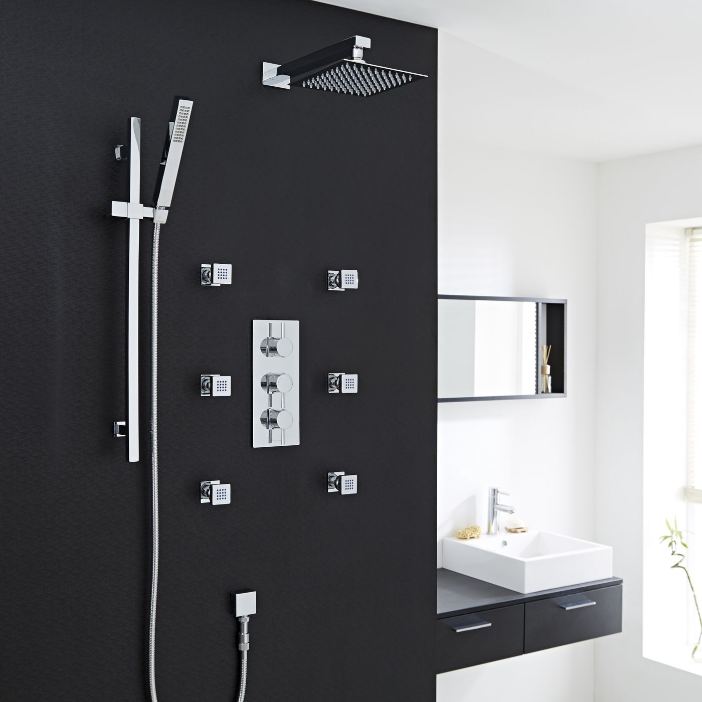 "Quest Thermostatic Shower System with 8"" Square Head & Arm , Handset & 6 Square Jet Sprays"