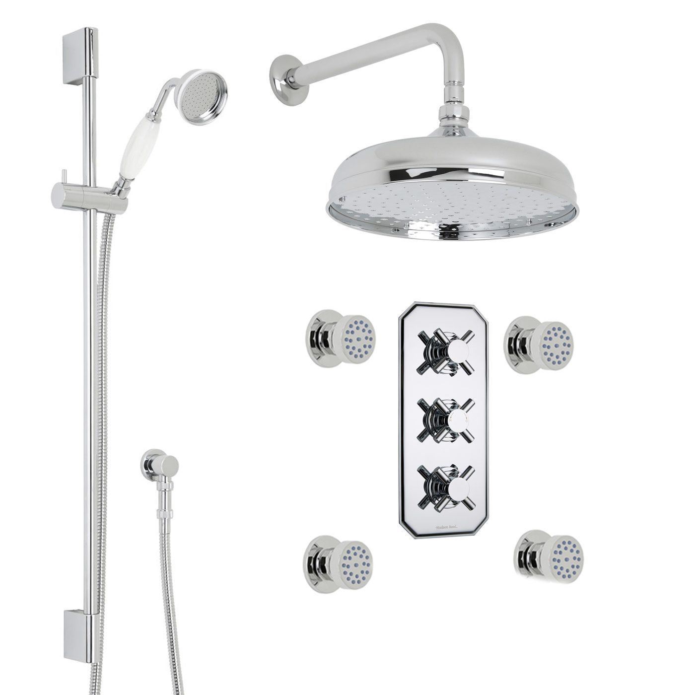 "Kristal Thermostatic Shower System with 12"" Round Head & Wall Arm , Handset & 4 Round Body Sprays"