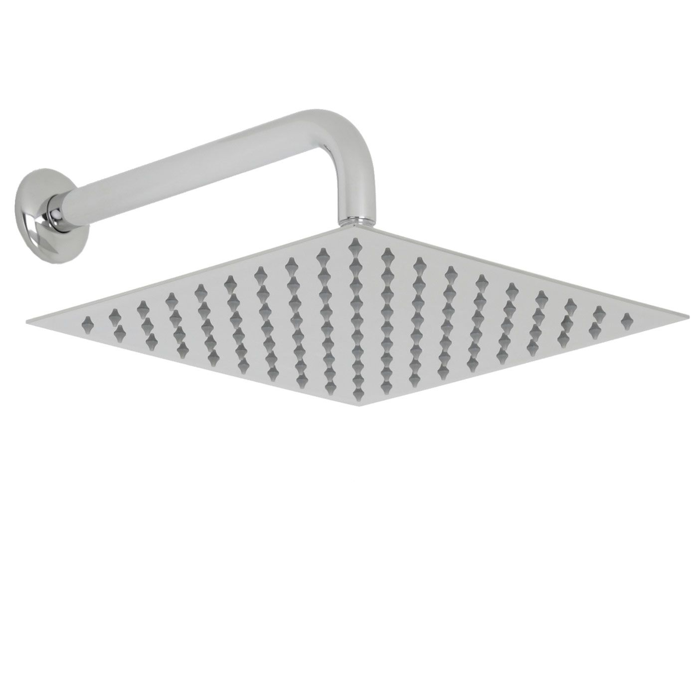 "Valquest 12"" Square Thin Shower Head with Wall Arm"
