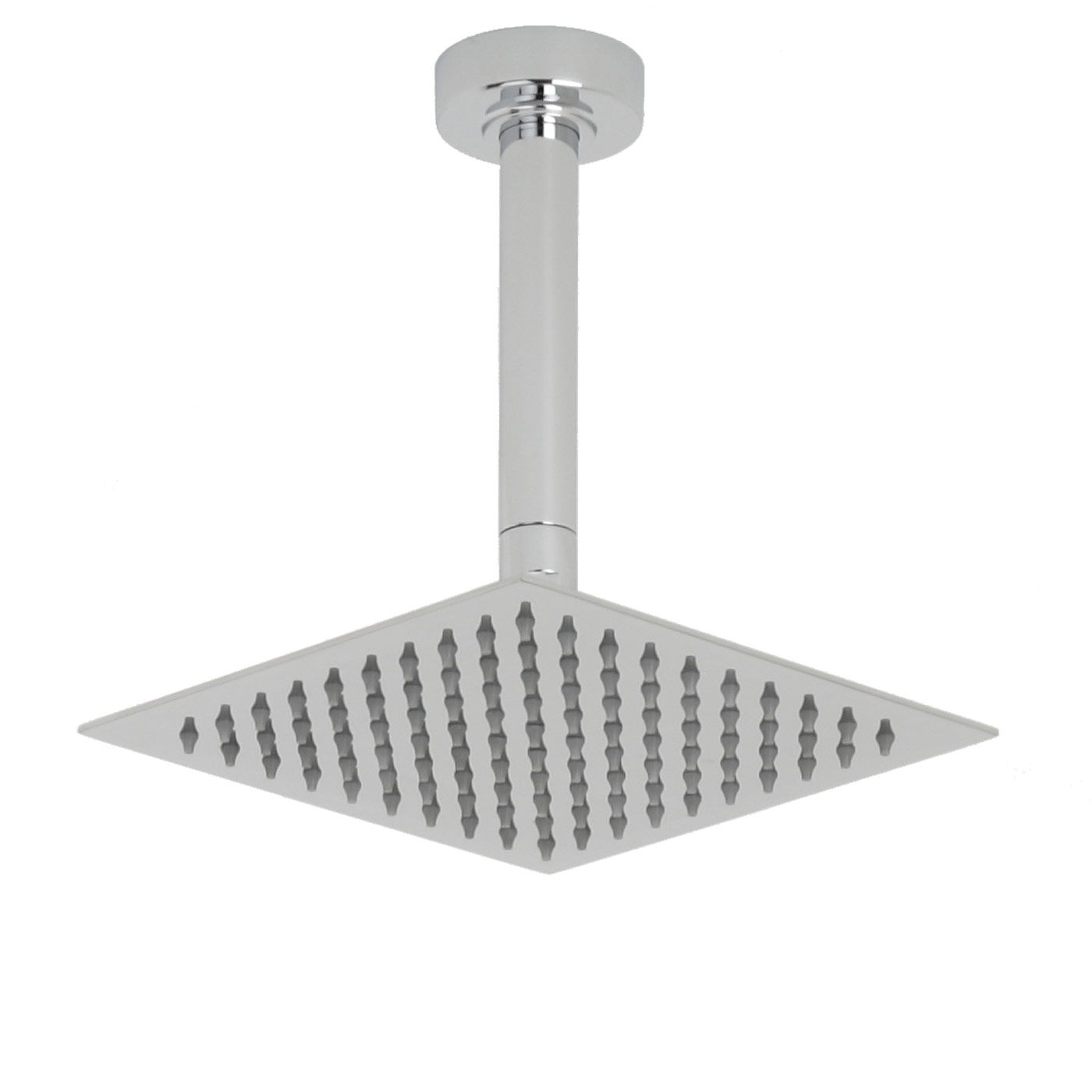 """Valquest 8"""" Square Thin Shower Head with Round Ceiling Arm"""