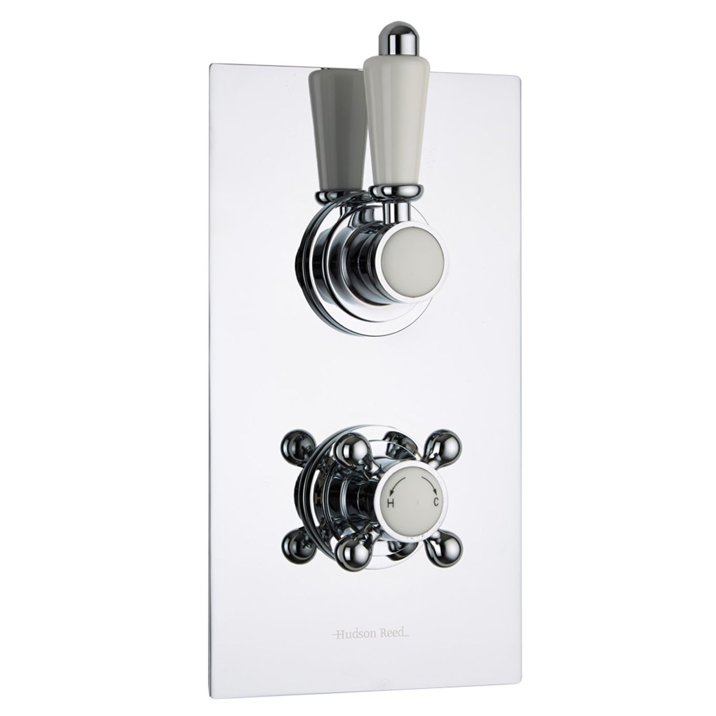 Traditional Concealed 2 Outlet Twin with Diverter Thermostatic Shower Valve