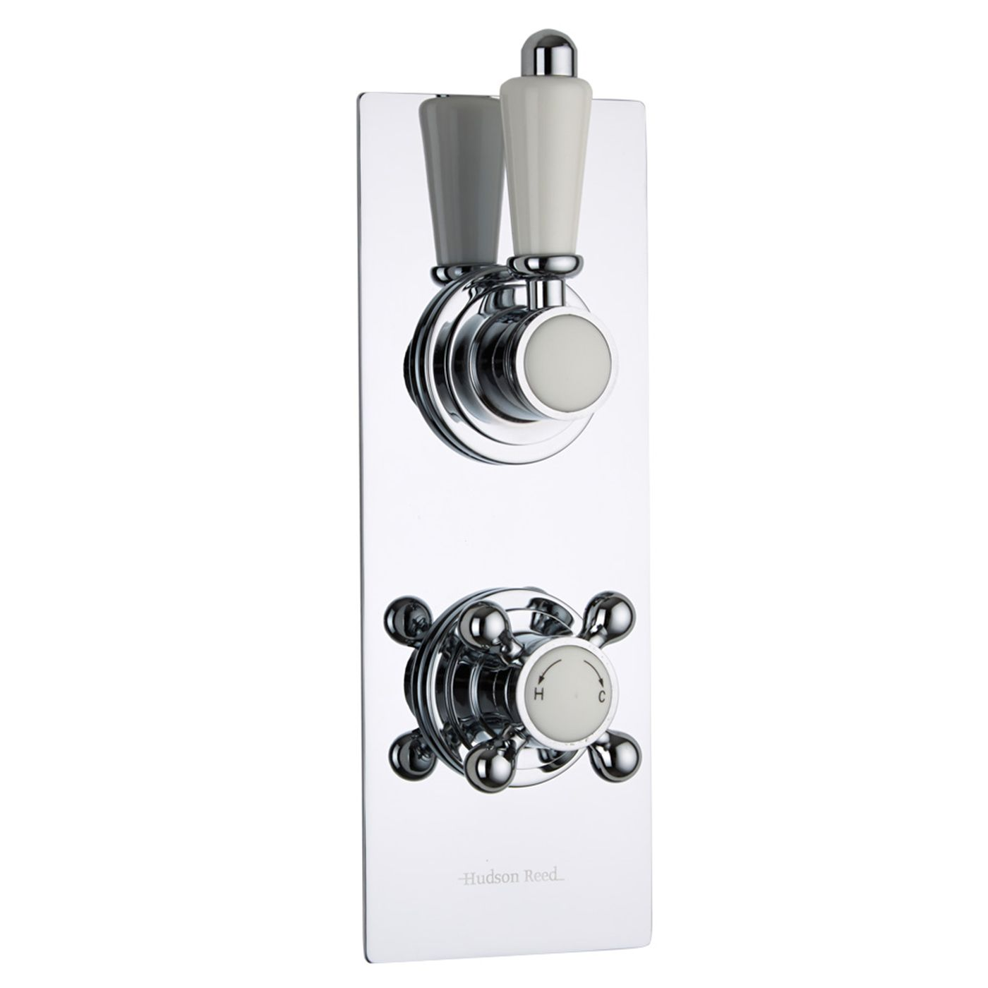 Traditional Concealed 2 Outlet Twin with Diverter Thermostatic Shower Valve (Slim Plate)