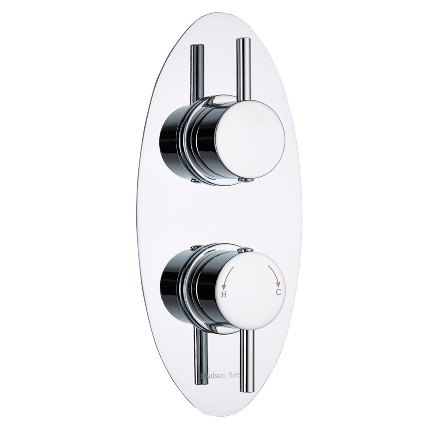 Quest Concealed 2 Outlet Twin with Diverter Thermostatic Shower Valve (Oval Plate)