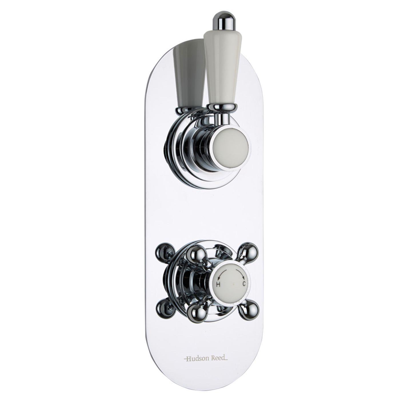 Traditional Concealed 2 Outlet Twin with Diverter Thermostatic Shower Valve (Racetrack Plate)