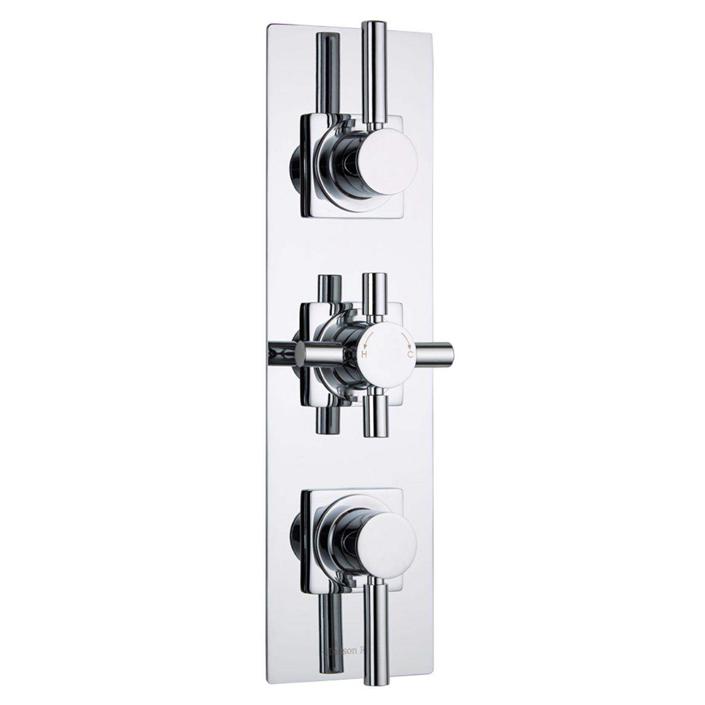 Tec Concealed 2 Outlet Triple Thermostatic Shower Valve (Slim Trim Plate)