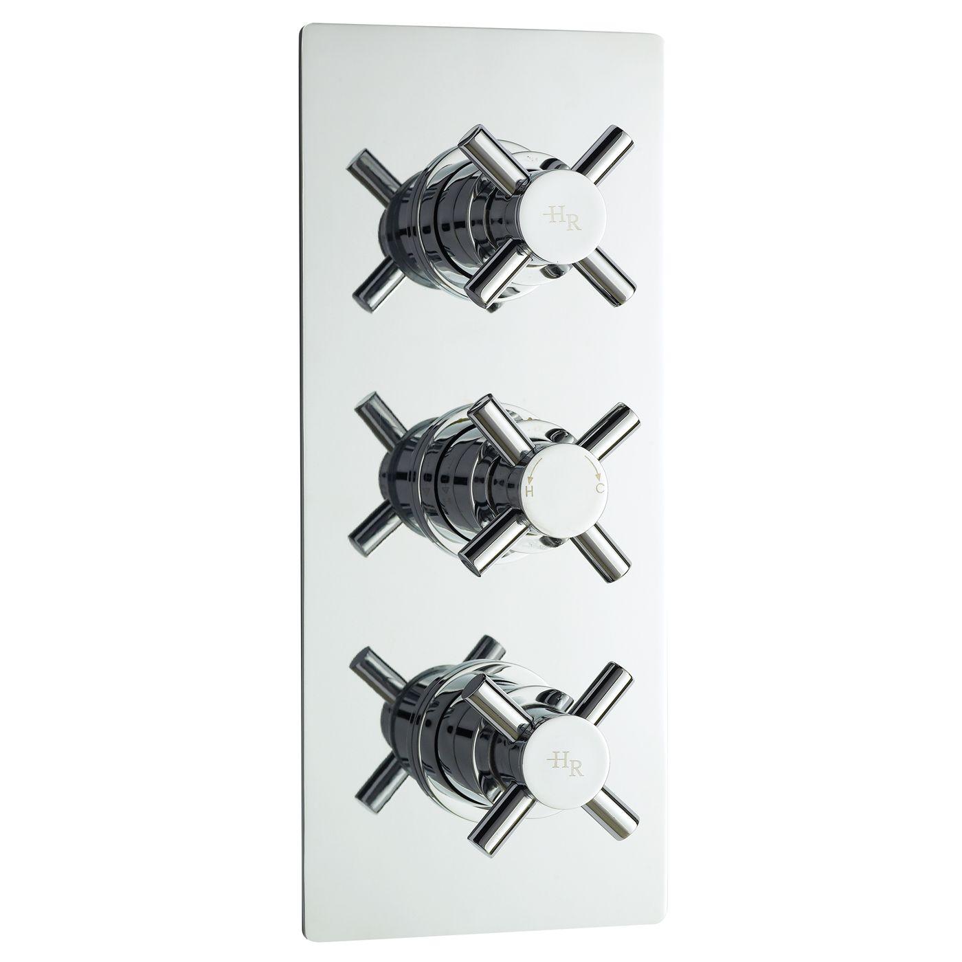 Kristal Concealed Thermostatic Triple Shower Valve with Diverter 3 Outlet Options