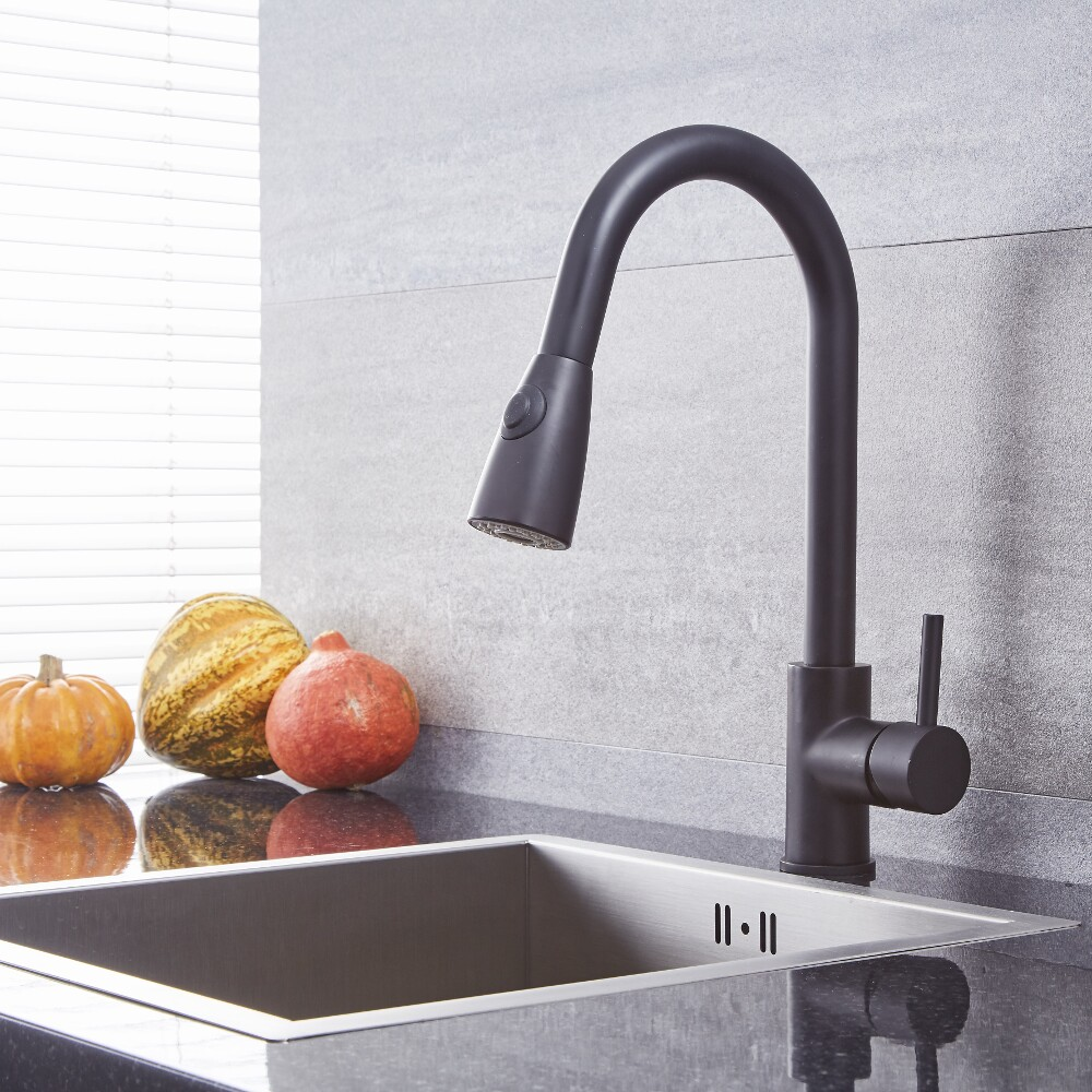 Quest - Black Single-Hole Pull-Down Kitchen Faucet