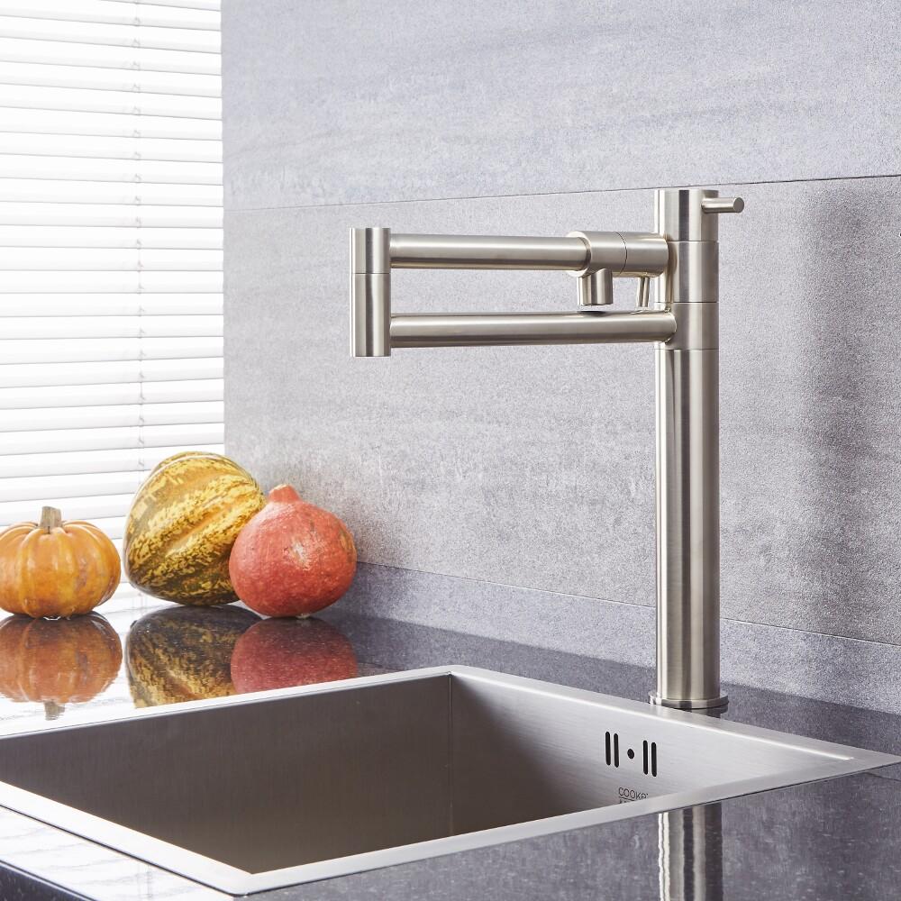 Quest - Brushed Nickel Retractable Kitchen Sink Mixer