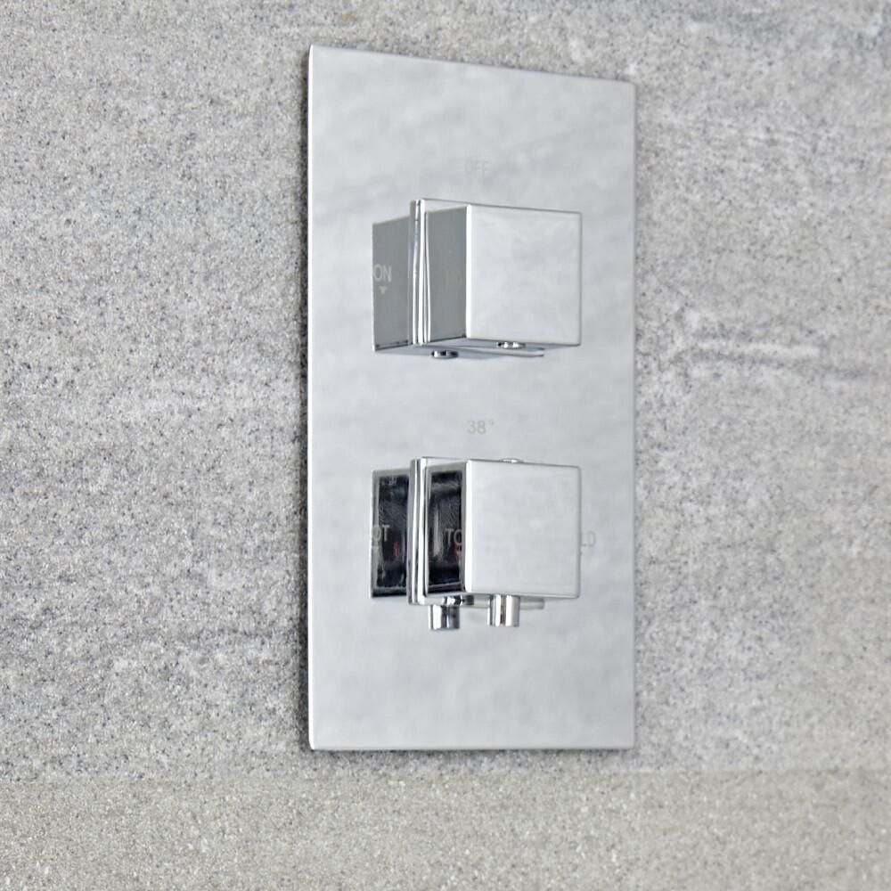 Kubix - Chrome Twin Thermostatic Shower Valve with Diverter - Two Outlets